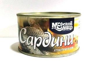 """Рибна консерва Сардини атлантичні в олії """"Морской Мир"""" 240г"""