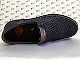 Ортопедические летние туфли синие из нубука на платформе Detta, фото 5