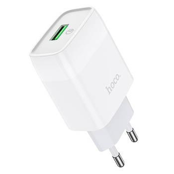Сетевое зарядное устройство адаптер Hoco C72Q QC 3.0 18W 1USB 2A для телефона, блочок быстрая зарядка белый