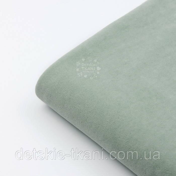 Клаптик велюру х/б темно-фісташкового кольору, розмір 22*180 см
