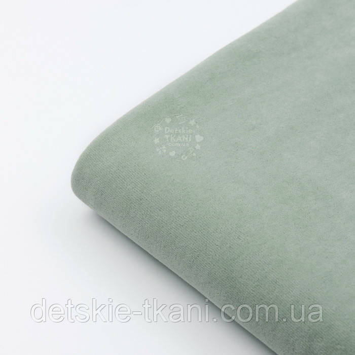 Лоскут велюра х/б тёмно-фисташкового цвета, размер 22*180 см