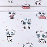 "Отрез ткани ""Панды-малыши и мини сердечки"" на белом фоне (№3433), размер 85*240 см, фото 2"
