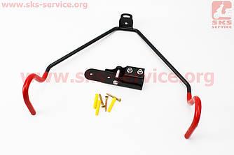 Кріплення велосипеда за раму до стіни складне, регульований кут нахилу велосипеда, чорно-червоне HS-025