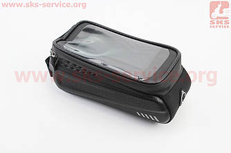 Сумка на раму (жесткий чехол) с водонепроницаемым отделением для смартфона 175х90х80мм, крепл. на липучке,