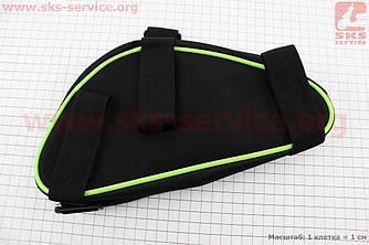 Сумка передняя под раму треугольная 250х190х150мм, крепл. на липучке, светоотражающие полосы, черно-зеленая
