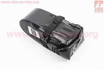 Сумка под сиденье (Bikepacking) 1-1,5L влагозащитная, светоотражающие вставки, крепл. на липучке, черная Tour