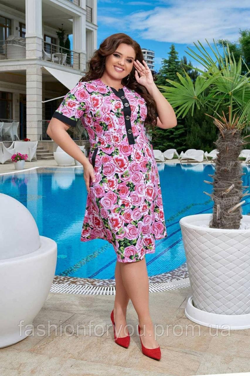 """Женское платье """"Роза"""" пурпурные цветы"""