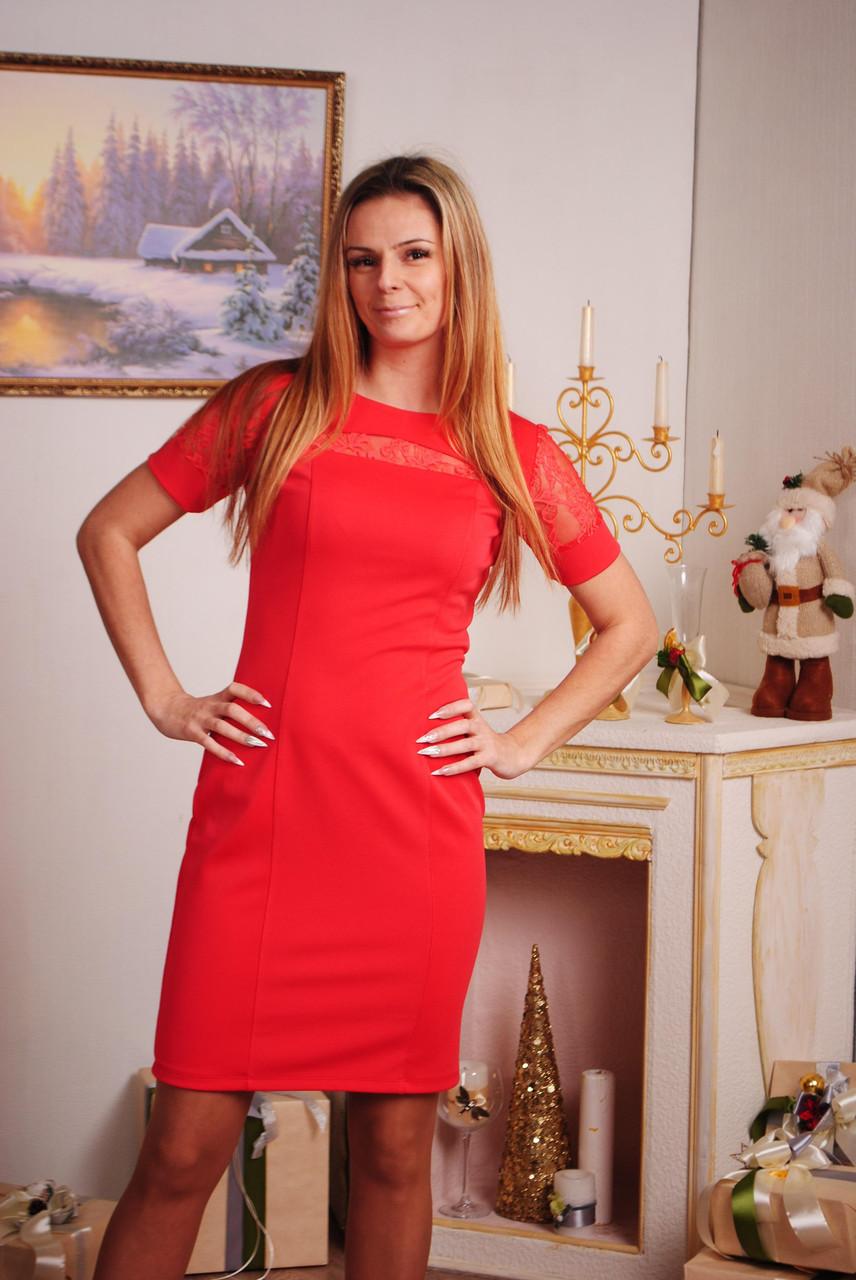 Платье женское с коротким рукавом коралл
