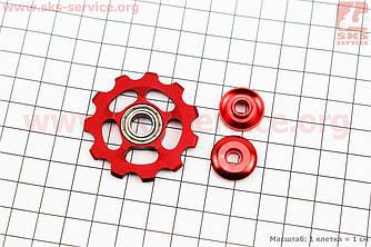 Ролик перекидки ланцюга задній 11T, пром-підшипник 689ZZ, алюмінієвий, червоний KL-4011А (403841)