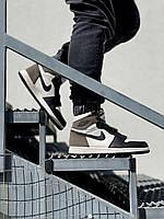 Мужские кроссовки Nike Air Jordan 1 Retro Mocha (черно-белые) J3280 стильные повседневные кроссы
