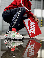 Мужские кроссовки Nike M2K Tekno (белые с оранжевым) модная качественная обувь из кожи J3272