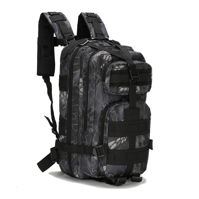 Штурмовий тактичний рюкзак чорний мультикам 25л, багатофункціональний рюкзак Oxford 600D