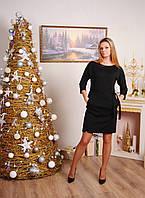 Платье женское с поясом черное, фото 1
