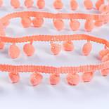 Тасьма з рідкими помпонами 10 мм ярко-персикового кольору, фото 2