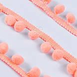 Тесьма с редкими помпонами 10 мм ярко-персикового цвета, фото 3
