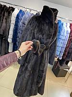 Жіноча шуба норкова розмір XS - натуральна норка натурального забарвлення - темно-коричневий колір