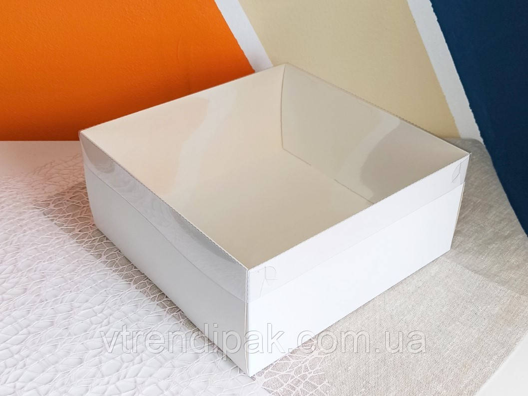Коробка для торту 250*250*110 з прозорою кришкою