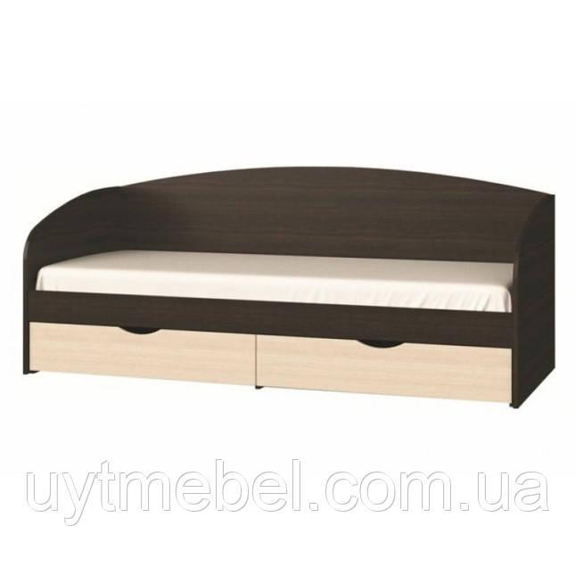 Ліжко Комфорт 800х1900 горіх швейц. т./дуб крафт білий (Сучасні меблі)