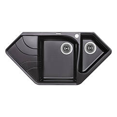 Кухонная мойка гранит LIDZ 1000x500/225 LIDZBLM141000500225 500мм x 1000мм черный полторы чаши 83195