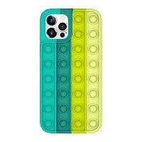 Силіконовий чохол-антистрес pop it для телефону iPhone X кейс для телефону з пупыркой case м'ятний