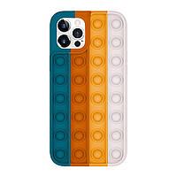 Силіконовий чохол-антистрес pop it для телефону iPhone X кейс для телефону з пупыркой бірюзовий