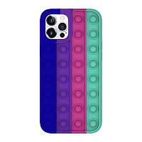 Силіконовий чохол-антистрес pop it для телефону iPhone X кейс для телефону з пупыркой case синій