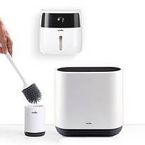 Набор для санузла MVM (бело-черный) (ершик - ведро - держатель для туалетной бумаги)