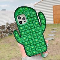 Силиконовый чехол-антистресс pop it для телефона iPhone X кейс для телефона с пупыркой case зеленый