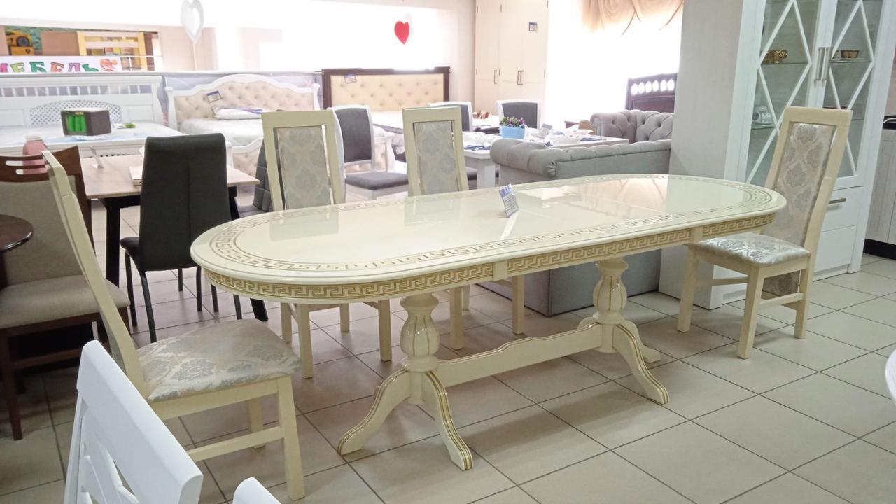 Классический обеденный  стол с патиной, из массива бука.