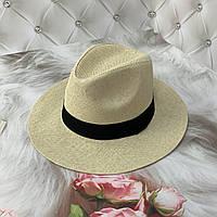 Женская летняя шляпа Федора бежевая