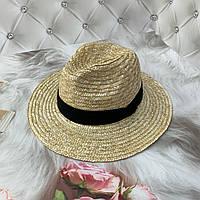 Женская соломенная летняя шляпа Федора с лентой