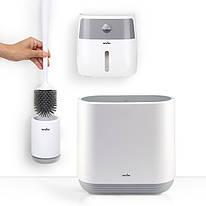 Набор для санузла MVM (бело-серый) (ершик настенный - ведро - держатель для туалетной бумаги)