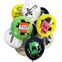 """Латексные воздушные шары Globos Payaso с пиксельными рисунками динамита, свинки, меча, кирки 12"""" 30 см, 10 шт"""