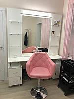 Стіл для перукаря зі скляними поличками та підсвіткою Модель V579