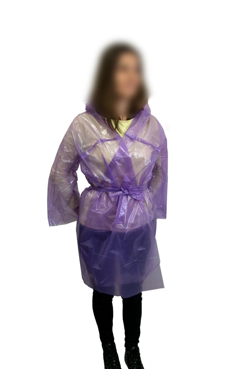 Дощовик підлітковий під пояс Фіолетовий 60мкм 94х73 см, дощовик від дощу | дождевик
