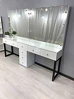 Візажний стіл для двох майстрів в стилі лофт Модель V516 білий