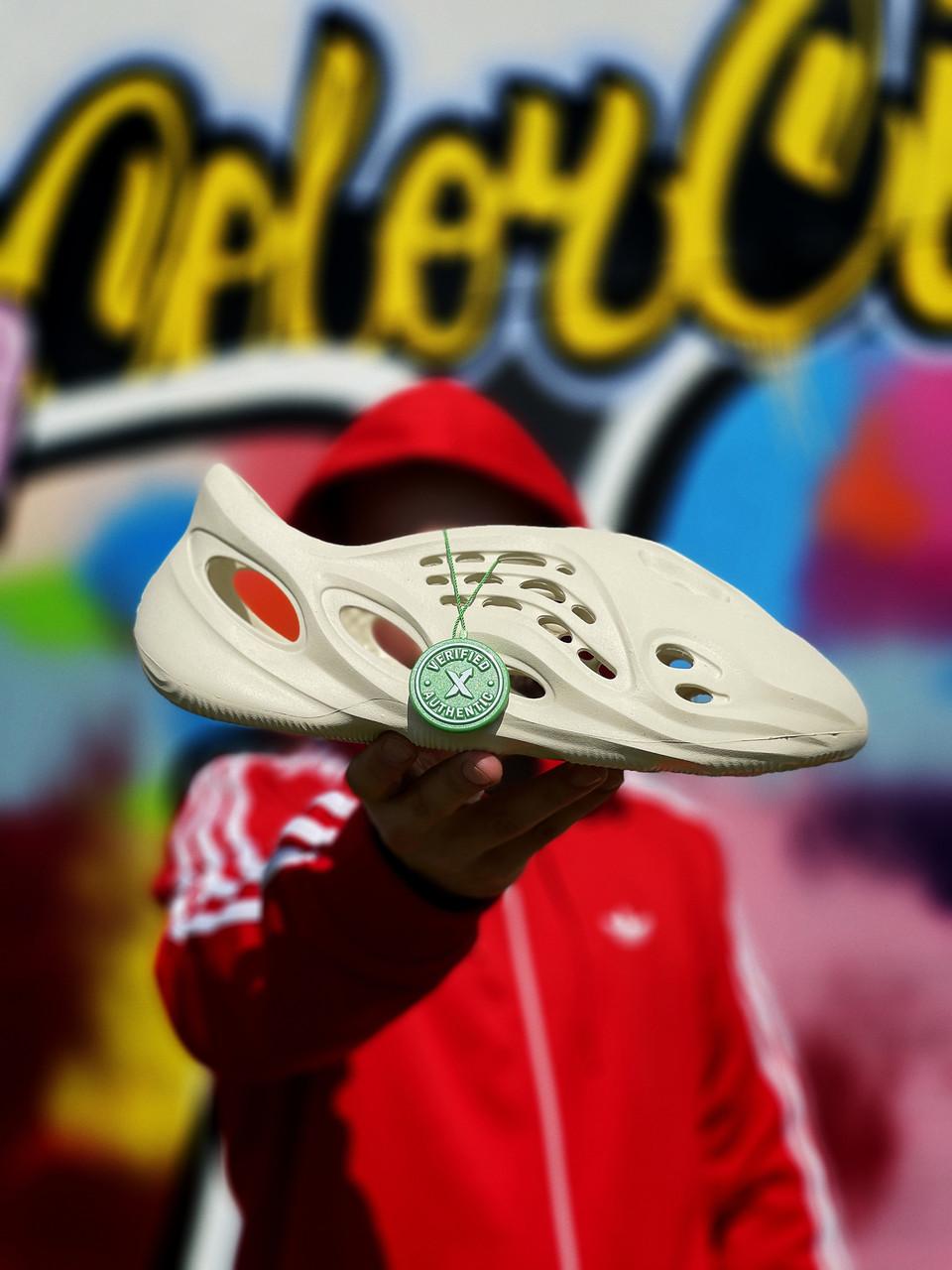 Тапочки жіночі Adidas Yeezy Foam RNNR Sand / Адідас Ізі Фом РННР Сенд Білі, Реплика