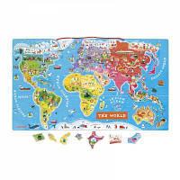 Развивающая игрушка Janod Магнитная карта мира англ.язык (J05504)