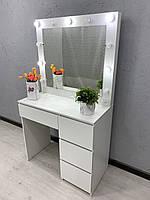 Белый визажный стол на 2 линии света Модель V456, фото 1