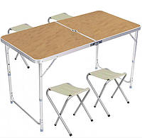 Стол для пикника со стульями Folding Table 5639, светлое дерево
