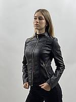 Женская черная кожаная куртка еко кожа большие размеры 48, 50, 52, 54, 56