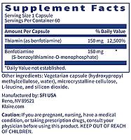 Klaire BENFOTIAMINE / Бенфотиамин Витамин Б1 60 капс, фото 2