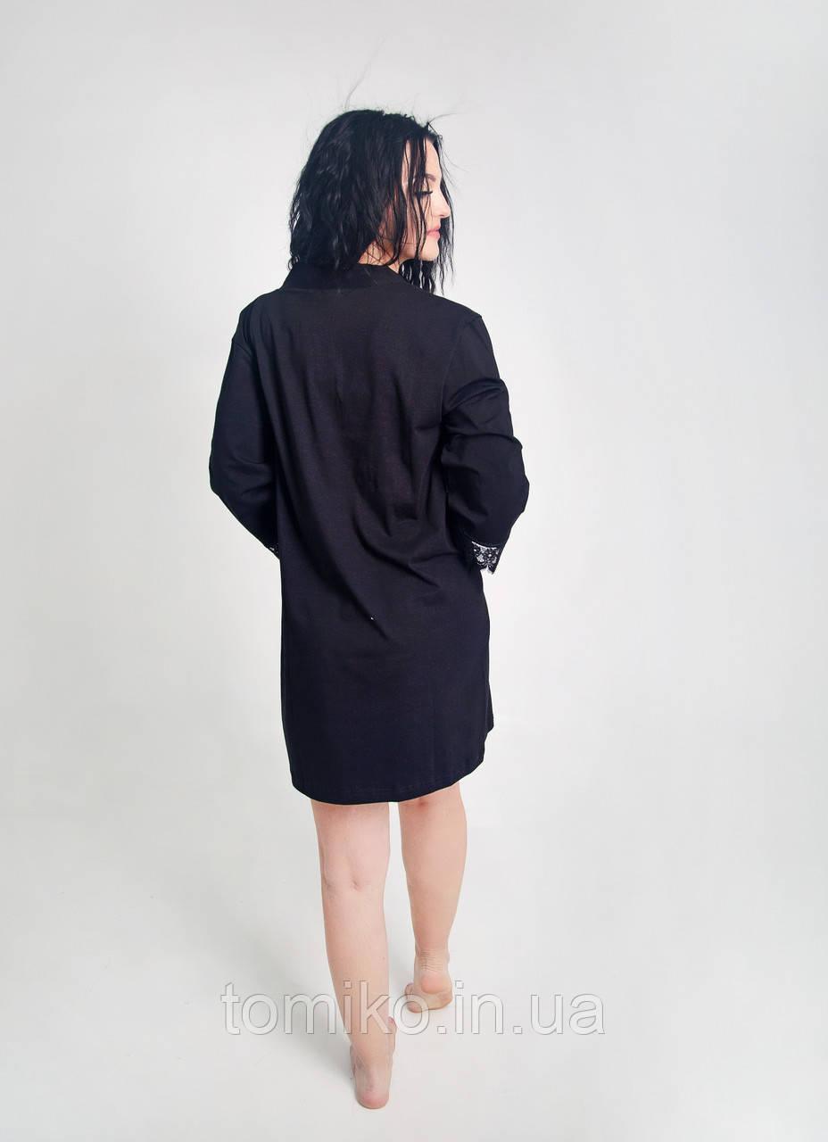 Жіночий бавовняний комлект трійка (майка+шорти+халат) з мереживом чорний 48р