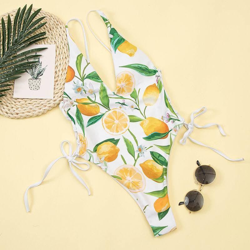 Сдельный  купальник в лимонный принт с завязками на талии по бокам White