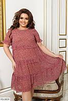 Ніжне легке шифонове плаття вільного крою на підкладці з принтом Розмір: 50, 52, 54, 56 арт. 190