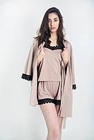 Жіночий бавовняний комлект трійка (майка+шорти+халат) з мереживом капучіно 50р