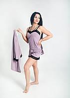 Жіночий бавовняний комлект трійка (майка+шорти+халат) з мереживом ліловий 46р, фото 1