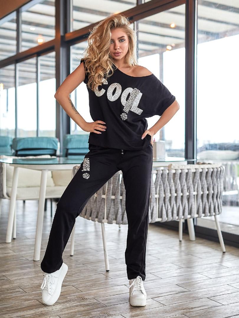 Женский спортивный костюм, 100% коттон, р-р С; М; Л (чёрный)