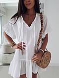 Жіноче літнє плаття туніка для пляжу біла малинова бежева оверсайз тонка легка вільна, фото 3