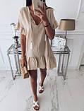 Жіноче літнє плаття туніка для пляжу біла малинова бежева оверсайз тонка легка вільна, фото 4